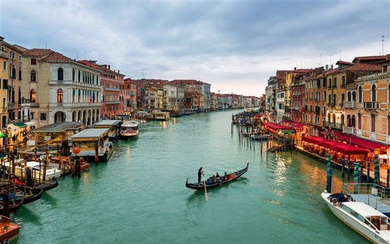 Wallpaper City in the water, Venice, Italy, canal, houses, boats, dusk, lights