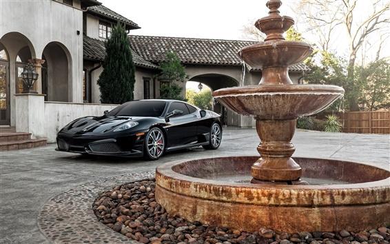 Wallpaper Ferrari F430 black supercar, house, fountain
