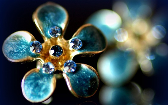Wallpaper Flower shaped ring, gemstones, aquamarine, glare, luxury