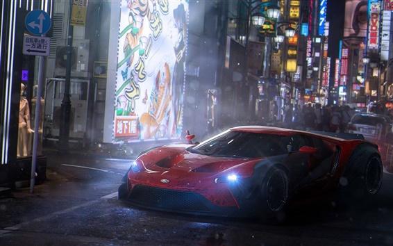 Fondos de pantalla Ford GT supercar, Tokio, noche