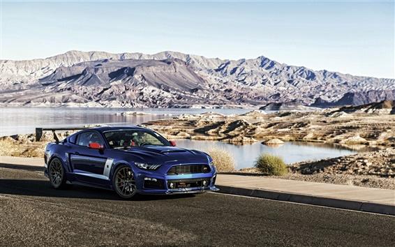 Fond d'écran Ford Mustang Roush Stage 3 de voiture bleue