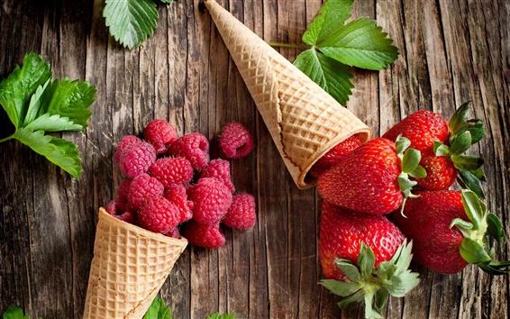 Wallpaper Fresh fruits, raspberries, strawberries, waffle, leaves