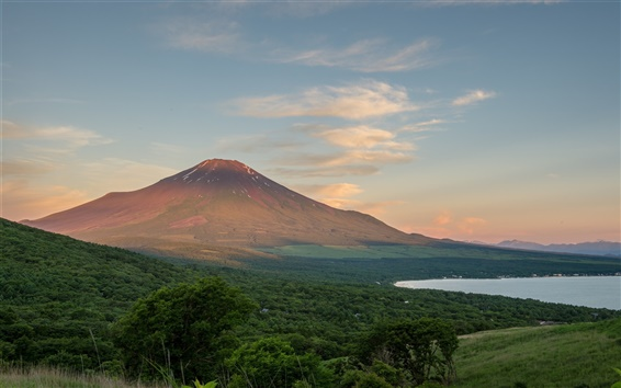 Wallpaper Fuji mountain, Japan, trees, clouds, lake, dusk