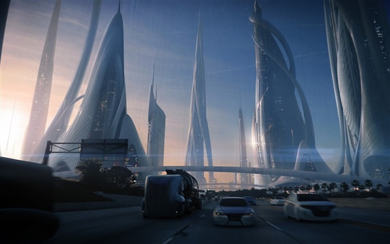 Fondos de pantalla ciudad futura, diseño de arte, transporte, carreteras, coches, rascacielos