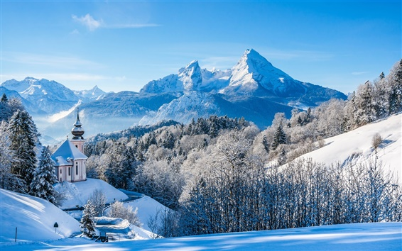 Wallpaper Germany, Bavaria, Alps, winter, snow, mountains, trees, house