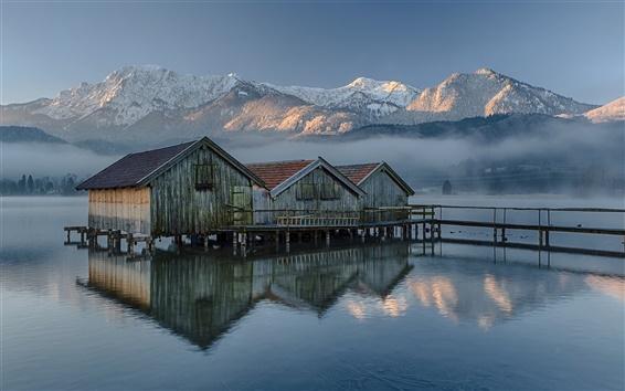 Papéis de Parede Alemanha, Baviera, casa de madeira, lago, montanhas, manhã, névoa
