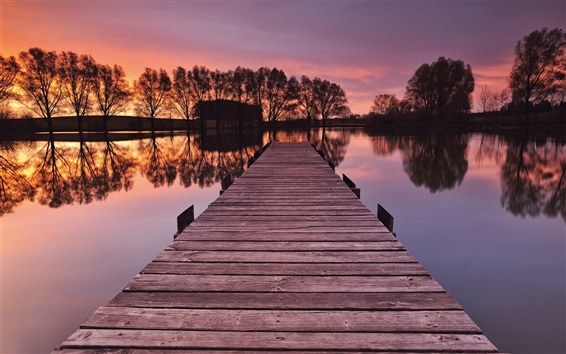 Wallpaper Germany, Bayern, bride, river, trees, pier, trees, sunset, red sky
