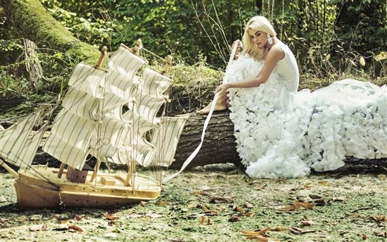 Wallpaper Girl innocence, white dress, blonde, sailboat
