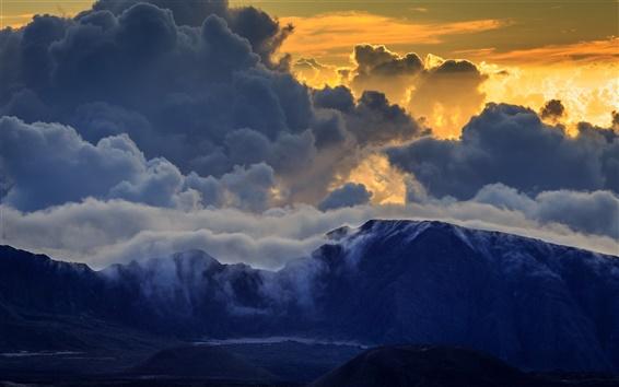 Fond d'écran Haleakala, Maui, montagnes, nuages, coucher de soleil