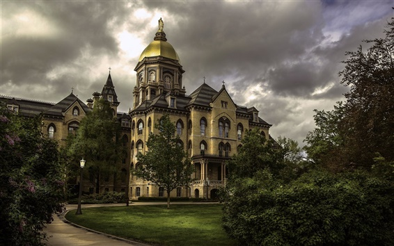 Wallpaper Indiana, Notre Dame University, USA, trees, clouds, dusk