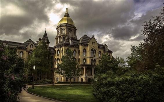 Обои Индиана, Университет Нотр-Дам, США, деревья, облака, закат
