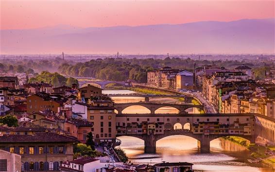 Wallpaper Italy, Florence, Arno river, bridge, houses, dusk