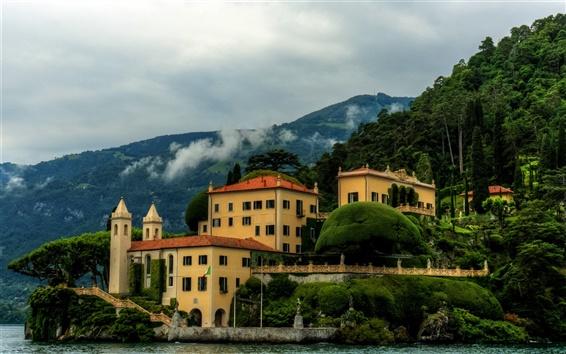 Fond d'écran Italie, Villa Balbianello, côte, montagnes, arbres, maison