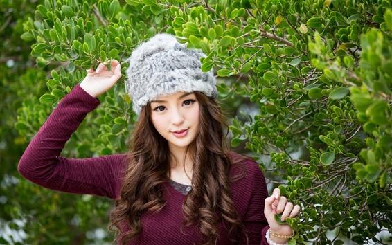 Fond d'écran Jancy Wong, feuilles, chapeau