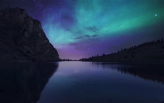 Papéis de Parede Lake Bannalp, Suíça, noite, estrelas, luzes do norte