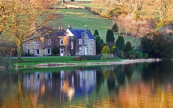 Wallpaper Lake, house, slope, trees, autumn, sunshine