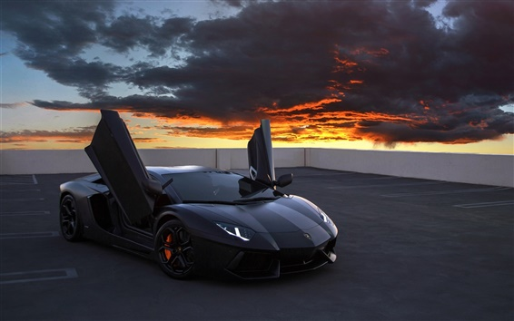 Wallpaper Lamborghini Aventador supercar, rooftop, red sky, clouds
