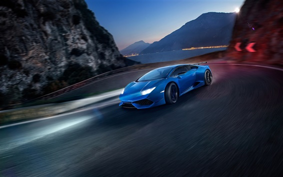 Обои Lamborghini Huracan скорость синий суперкар, ночь