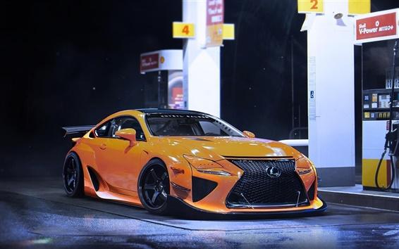 Fond d'écran Lexus RCF-Une voiture sport jaune, nuit