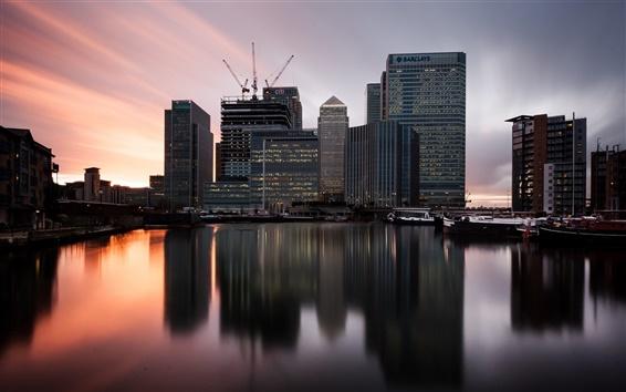 Fond d'écran Londres, Angleterre, Canary wharf, bateaux, coucher de soleil, bâtiments