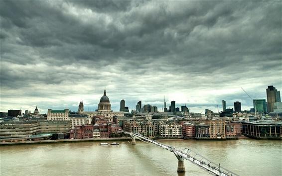 Обои Лондон, Англия, мост Миллениум, река, дома, облака, закат