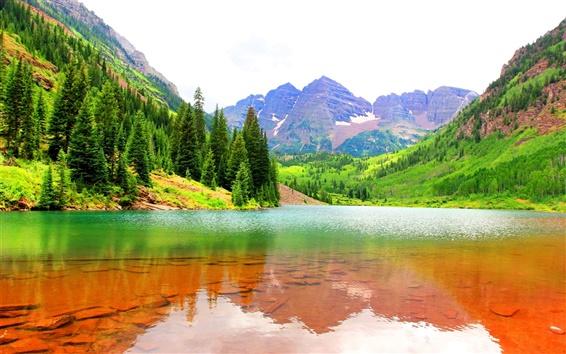 Papéis de Parede Maroon Bells, Colorado, EUA, lago, montanhas, árvores