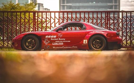 Papéis de Parede Mazda RX 7 supercar vermelho vista lateral