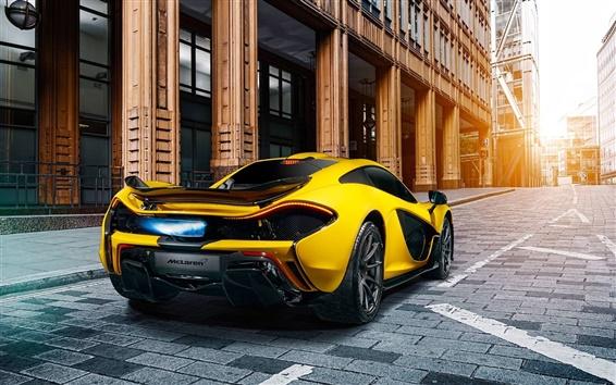 Wallpaper McLaren P1 yellow supercar rear view, city