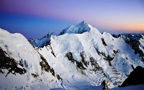 Wallpaper Mountains, snow, dusk