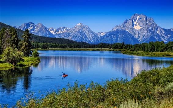 Обои Горы, деревья, голубое небо, река, лодка