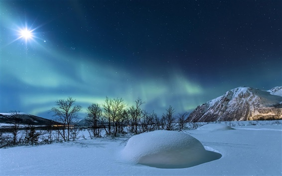 Wallpaper Norway, winter, night, stars, snow, mountains