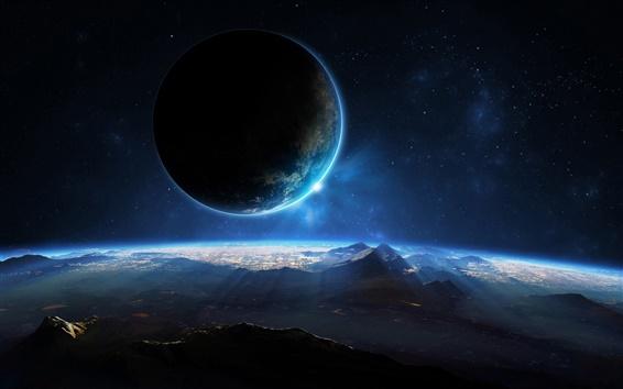 Wallpaper Planet, space, sci fi, light, mountains
