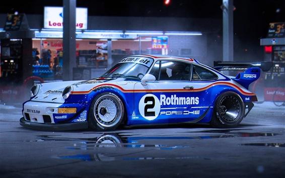 Wallpaper Porsche 911 race car at night