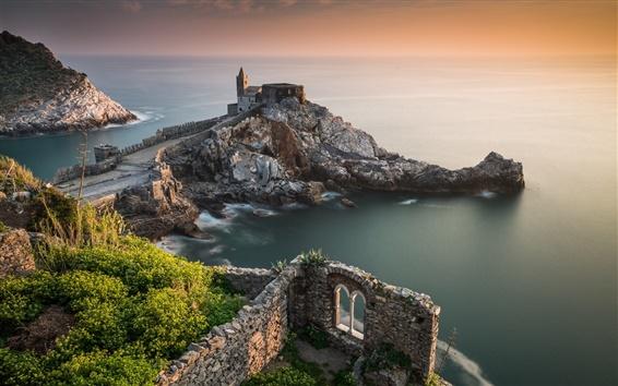 Wallpaper Portovenere, Liguria, Italy, Church of San Pietro, rocks, sea, coast