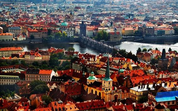Fondos de pantalla Praga, República Checa, el Puente de Carlos, casas, río