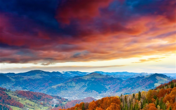 Wallpaper Red sky, clouds, mountains, trees, autumn
