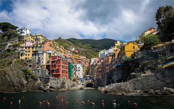 Wallpaper Riomaggiore, Cinque Terre, Liguria, Italy, sea, coast, buildings, houses