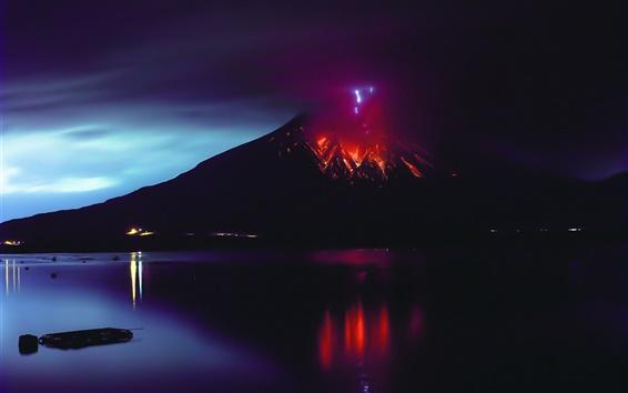 Обои Сакураджима, извержение вулкана, лава, стихийное бедствие, Япония