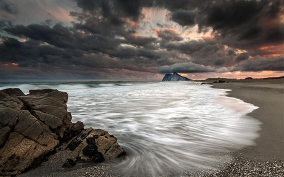 Fond d'écran Mer, plage, nuages, tempête, crépuscule