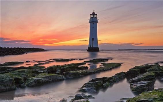 Fond d'écran Mer, côte, roches, coucher de soleil, phare, ciel rouge