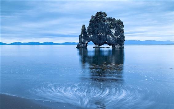 Fond d'écran Mer, rochers arc, île, bleu, aube