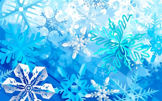 Wallpaper Snowflake, winter, blue, art design