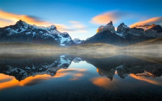Papéis de Parede América do Sul, Chile, Patagônia, Andes, lago, reflexão da água