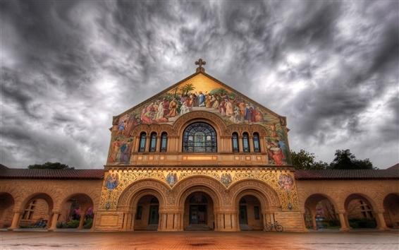Fond d'écran Église Stanford, peinture, nuages, crépuscule, Californie, États-Unis