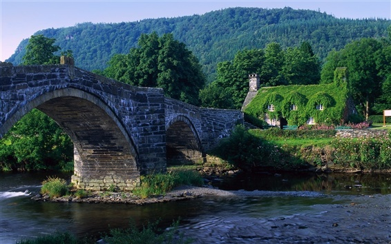 Wallpaper Stone bridge, river, house, green
