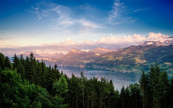 Wallpaper Switzerland, Lake Zurich, lake, forest, trees, mountains, clouds