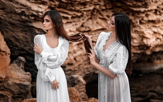 Wallpaper Two girls, long hair, white dress