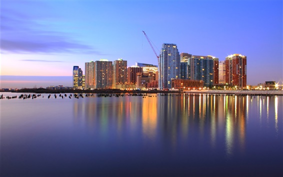 Wallpaper USA, New Jersey, port, evening, skyscrapers, lights