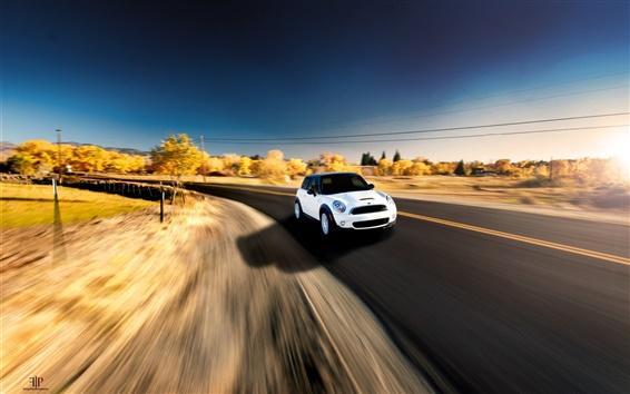 Wallpaper White MINI Cooper car in speed