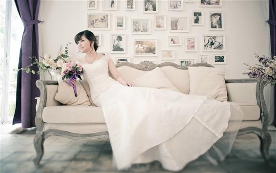 Papéis de Parede vestido branco menina asiática, noiva, sofá